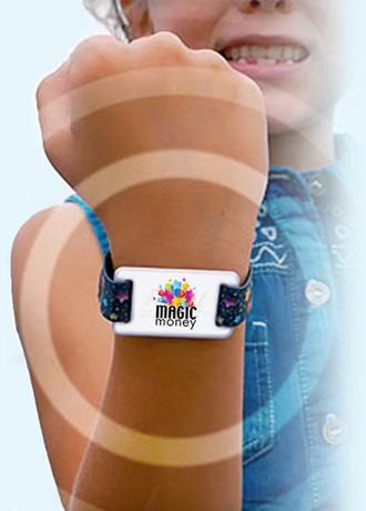 RFID wristband on child's wrist